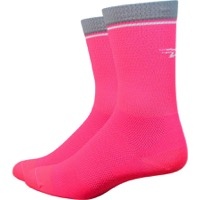 "DeFeet Levitator Lite 5"" Socks - Pink/Grey"