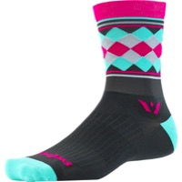 Swiftwick Vision Five Socks - Argyle Gray/Pink/Mint