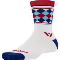 Swiftwick Vision Five Socks - Argyle White/Red/Navy
