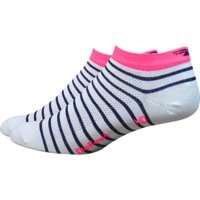 "Defeet Aireator 1"" Sailor Women's Socks - White/Navy/Flamingo Pink"