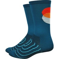 "DeFeet AirEator 6"" Strawfoot Handmade Socks - Sunset Circles"