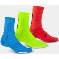 Giro HRc Team 3-Pack Socks 2019 - Blue, Highlight Yellow, Vermillion
