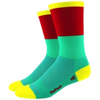 "DeFeet Aireator 6"" Blockhead Socks - Celeste/Red"