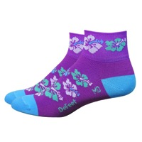 "DeFeet Aireator 2"" Hibiscus Womens Socks - Purple/Blue"