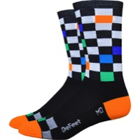 "DeFeet Aireator 6"" Fast Times Socks - Black/Multi-Colored Checkers"