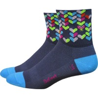 "DeFeet AirEator 3"" Love Bug Womens Socks - Graphite/Light Blue"