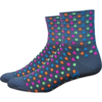 "DeFeet AirEator 3"" Spotty Womens Socks - Gray/Multi-Colored Spots"
