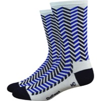 "DeFeet Aireator 6"" Barnstormer Vibe Socks - White/Navy Blue"
