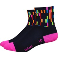 "DeFeet AirEator 3"" Pixel Womens Socks - Navy/Process Blue/Lite Pink"