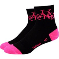 "DeFeet AirEator 3"" Townee Socks - Black/Flamingo"