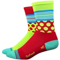 "DeFeet Aireator 5"" Mash-Up Socks - Hi-Vis Red/Yellow"