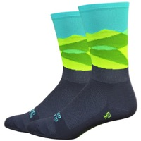 "DeFeet Aireator 6"" Ornot Mt Tam Socks - Teal/Yellow/Black"