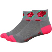 "DeFeet AirEator 2"" Red Roses Womens Socks - Grey/Pink"