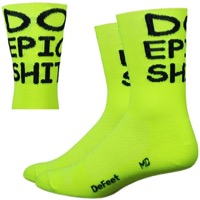 "DeFeet AirEator 5"" Do Epic S*#t Socks - Hi Vis Yellow/Black"