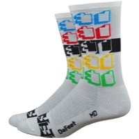 "DeFeet Aireator 6"" Positive Space Socks - White/Multi Color"