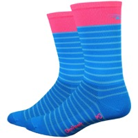 "DeFeet Aireator 6"" Sailor Socks - Process Blue/Flamingo Pink"