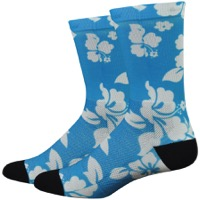 "DeFeet Levitator Lite 6"" Socks - Aloha White/Light Blue"