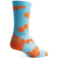 SockGuy Honeycomb Crew Socks - Blue/Orange