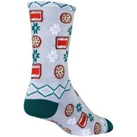 SockGuy Santa Snacks Crew Socks - Grey/Red/Green