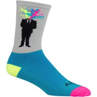 SockGuy Blown Crew Socks - Gray/Blue