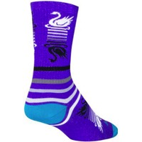 SockGuy Swan Song Crew Sock - Purple/White