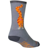 SockGuy Pucker Crew Socks - Grey/Orange