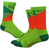 "DeFeet Aireator 6"" Barnstormer Galibier Sock - Green/Orange"