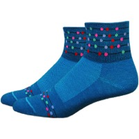 "DeFeet WoolEater 2"" Comp Abacus Women's Socks - Petrol Blue/Multi-Colored Dots"