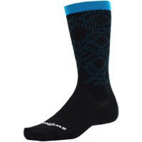 Swiftwick Pursuit Eight Business Socks - Black/Blue Argyle