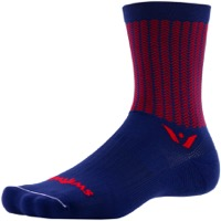 Swiftwick Vision Five Socks - Aero Navy/Red