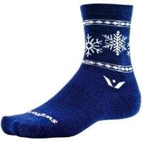 Swiftwick Vision Five Snowflake Wool Socks - Navy/White