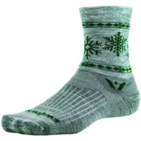 Swiftwick Vision Five Snowflake Wool Socks - Heather/Green