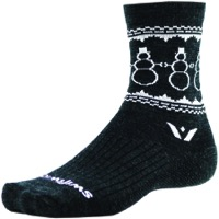 Swiftwick Vision Five Snowman Wool Socks - Coal/White