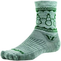 Swiftwick Vision Five Snowman Wool Socks - Heather/Green