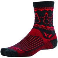 Swiftwick Vision Five Snowman Wool Socks - Coal/Red