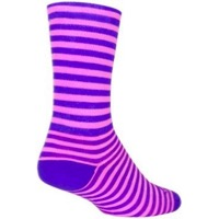 SockGuy Candy Stripe Crew Socks - Purple/Pink
