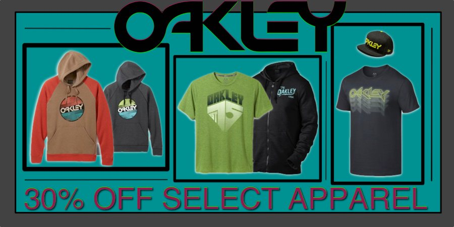 30% off Select Oakley Apparel and Accessories