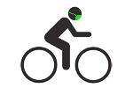 Bicycle icon with face mask that follows mouse movement