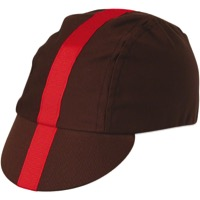 Pace Classic Cycling Cap - Choco w/ Red Stripe