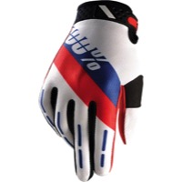 100% Ridefit Gloves - Honor White/Blue/Red