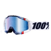 100% Accuri Goggles - White Crystal/Mirror Blue Lens