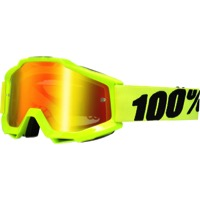 100% Accuri Goggles - Fluo Yellow/Mirror Red Lens