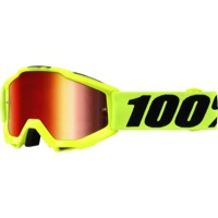 100% Accuri Junior Youth Goggles - Fluo Yellow/Mirror Red Lens
