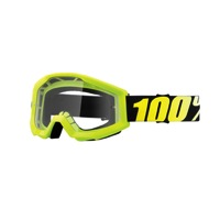 100% Strata Junior Goggles - Neon Yellow/Clear Lens