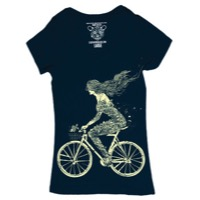 Clockwork Gears Mermaid Bike T-Shirt - Navy