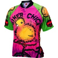 World Jerseys Chick on a Bike Women's Jersey - Pink