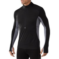 Smartwool Wind Zip Long Sleeve Base Layer Top - Black