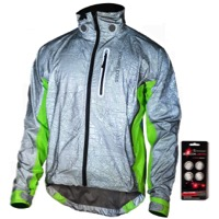 Showers Pass HI-VIS Torch Jacket - Silver Reflective/Neon Green