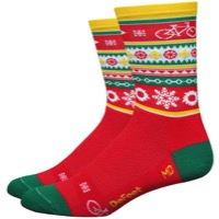 "DeFeet Aireator 5"" Eggnog Socks - Red/Green/Yellow"