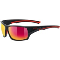 Uvex 222 Polarized Sunglasses - Matte Black/Red (Polarized Mirror Red Lenses)